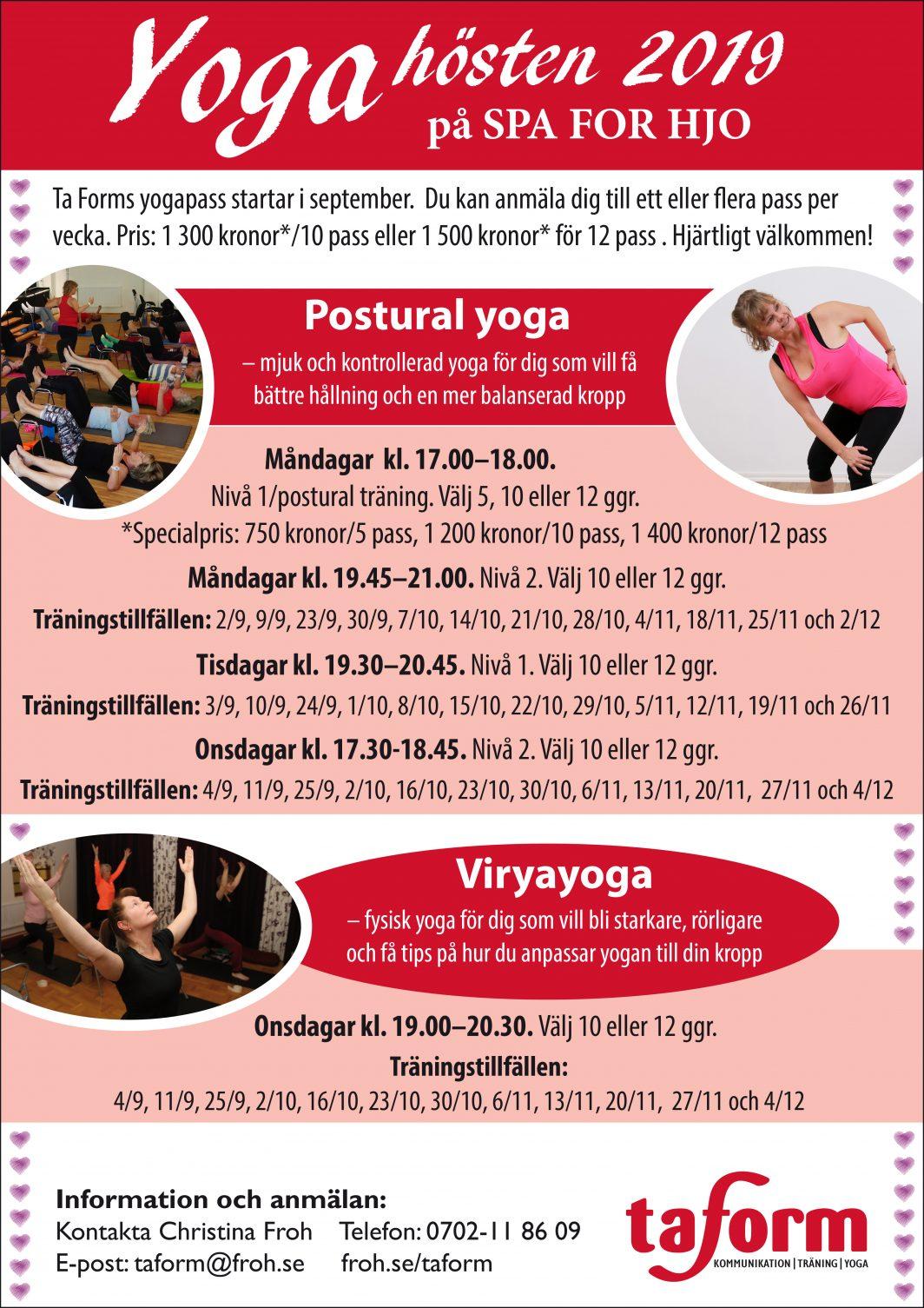 Höstschema för postural yoga och viryayoga